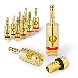conecto Bananenstecker Premium (8er-Set) für alle Lautsprecherkabel mit Einem Durchmesser von max. 6mm², 8 Stück mit Farbcodierung (4X rot, 4X schwarz), 24k vergoldet