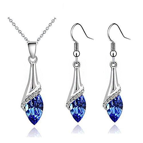 Schmuck-Set, elegant, silberfarben, Dunkelblaues Kristallglas, Halskette und Ohrhänger S862