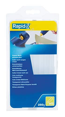 Rapid, 5000626, Bâtons de colle thermofusible, Application discrète, Transparente, ø12mm, Longueur 190mm, 250g