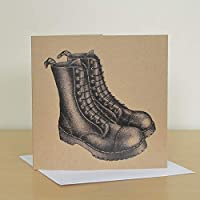 Black boots recycled greetings card. Punk birthday card.
