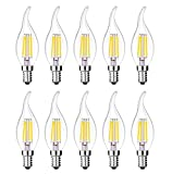 MENTA Bombillas Filamento LED E14 en Forma de Vela, Incandescente Equivalente a 40w, Blanco frío 6500k 4W, Casquillo Fino E14 SES, AC 200-240V, Pack de 10 Unidades