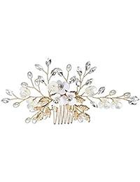 Mujeres nupcial de la boda de la flor de cristal Rhinestones perlas pinzas para el cabello peine de dama de honor accesorios para el cabello tocado estilo