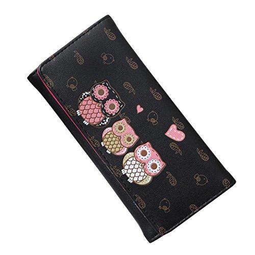 Rovinci Frau Einfach Retro Eule drucken Haspe Lange Brieftasche Geldbörse Kartenhalter PU-Leder Handtasche (Schwarz)