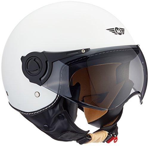 "Moto Helmets® H44 ""Matt White"" · Jet-Helm · Motorrad-Helm Roller-Helm Scooter-Helm Bobber Mofa-Helm Chopper Retro Cruiser Vintage Pilot Biker Helmet · ECE Visier Schnellverschluss Tasche M (57-58cm)"