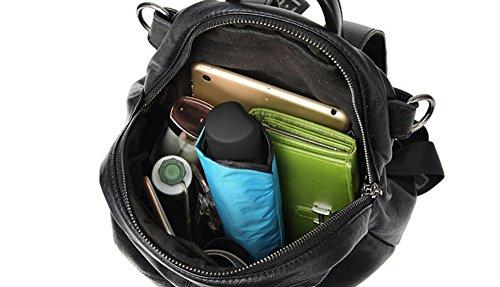 Damen Rucksack Alfartec PU Leder Small Portable School Tasche für Teenager Mädchen solide cute Schulter Tasche (Black) Black