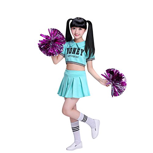 G-Kids Damen Mädchen Cheerleader Kostüm Uniform Karneval Fasching Party Halloween Weihnachten Kostüm Kleid Cheerleading Bekleidung mit 2 Pompoms und Socks Blau 140