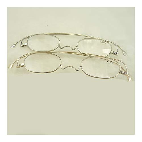 2er Pack Metallrahmen Lesebrille Frühling aufklappbare Brille Runde Brille Presbyopie Retro Computer Brille Presbyopie Verwendung Leichte, komfortable, klare Sicht,3.0