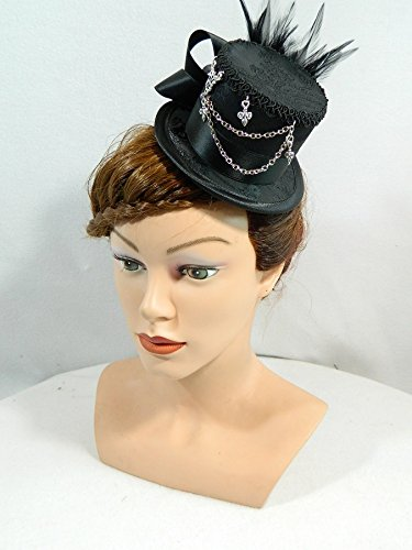 Dirndl Melbourne Kostüm (Mini Zylinder schwarz Damenhut Hut Fascinator Cocktail Hütchen Gothic Steampunk Kopfschmuck Haarschmuck Headpiece)