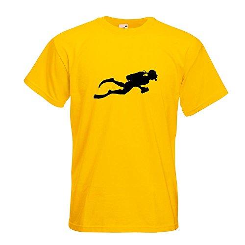 KIWISTAR - Taucher Schnorcheln T-Shirt in 15 verschiedenen Farben - Herren Funshirt bedruckt Design Sprüche Spruch Motive Oberteil Baumwolle Print Größe S M L XL XXL Gelb
