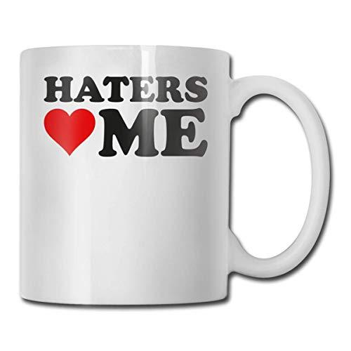Daawqee Becher Coffee Mug 11oz Funny Cup Milk Juice Or Tea Cup I Love Haters Me Birthday