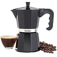 VonShef 6 Cup Espresso Coffee Maker Black Italian-Style Moka Stove Top Macchinetta Includes Replacement Gasket & Filter (300ml)