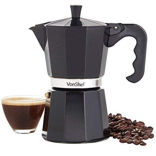 VonShef Cafetera Espresso Italiana Macchinetta Moka de 3/6/9/12 Tazas Incluye un Filtro y un Sello de Recambio (6 Tazas)
