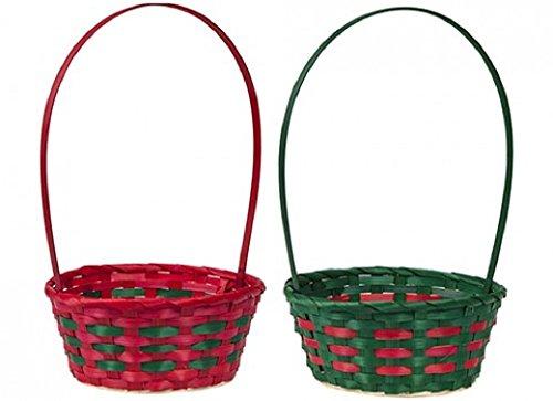 ter Bambus Korb mit handle- behindern basket- Farbe zufällig rot oder grün (Disney Ostern Körbe)