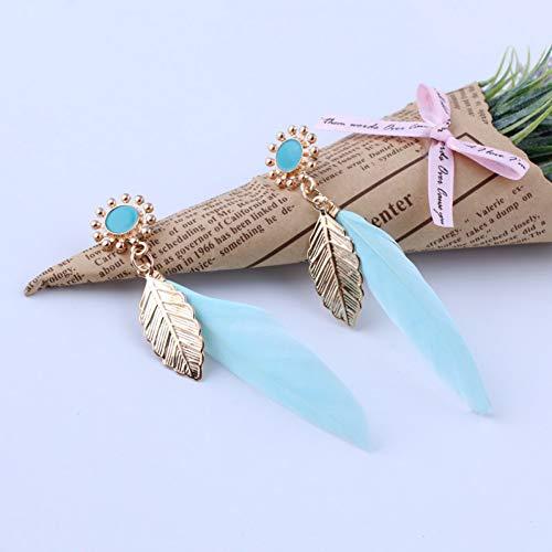 TIANJJ Federohrringe Vintage ethnischen Boho Gypsy Indien Feder Ohrringe Gold Farbe Blumen Blätter Lange Feder Ohrringe für Frauen (Gold Ohrringe Aus Indien)