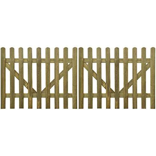 Vidaxl cancello per steccato 2 pz 300 x 120 cm legno impregnato