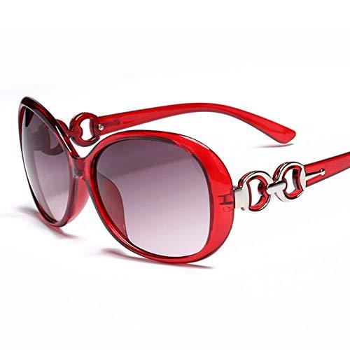 Epinki Damen Polarisierte Sonnenbrille Rund UV400 Schutz Retro Brille | Vollrand | für Alltag, Party, Fahren - Rot