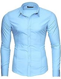 MERISH Slim Fit Chemise à manches longue pour Hommes Classique col de Kent, Chemise Business beaucoup de différentes couleurs Modell 201