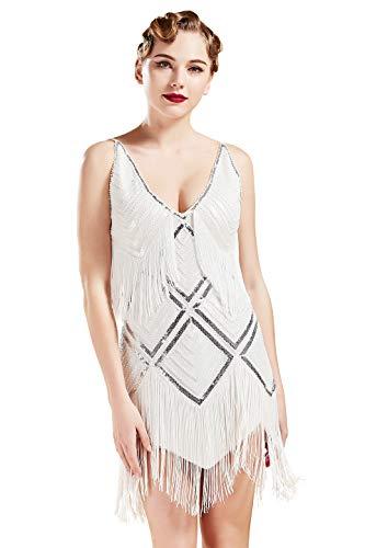 Sexy Damen Flapper Kostüm - Coucoland 1920s Kleid Damen Sexy V Ausschnitt Flapper Charleston Kleid 20er Jahre Retro Stil Great Gatsby Motto Party Damen Fasching Kostüm Kleid (Weiß, M)