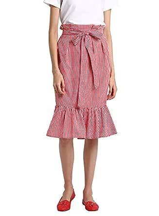 BESIVA Women's Gingham Check Belted Midi Cotton Skirt