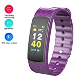 Fitness Armband Uhr mit Pulsmesser Wasserdicht IP67 Fitness Tracker Aktivit�tstracker Pulsuhren Bluetooth Smart Armbanduhr �r iPhone Android Handymonitor (Purple) Bild