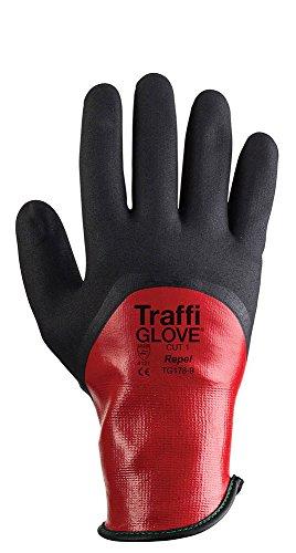 traffiglove tgz178-09Größe 22,9cm Repel Schnitt 2,5cm Nylon Shell Schichten vollständig Eingetaucht beschichtet Handschuhe-Rot -
