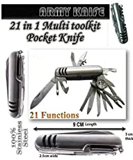 SHOPEE Premium 21 In 1 Multifunctional Swiss Army Knife With Belt Nylon Pouch