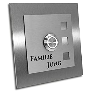 Jung-Edelstahl-Design Türklingel mit Gravur. Klingelplatte 10x10 cm. Led Taster weiss. Klingelschild V2a Edelstahl. Design Manhattan