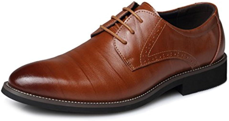 XDGG Männer Leder Schuhe Business Casual Spitz Zehe Hochzeit Schuhe Groß Größe Schuhe   yellow   48