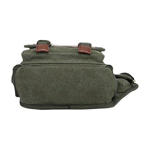 VRIKOO Retro Casual Canvas Chest Crossbody Bag Outdoor Sports Military Shoulder Messenger Bag Patchwork Sling School Bags Verde militare