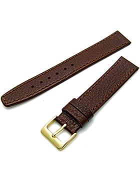 WatchWatchWatch Uhrenarmband aus echtem Leder, in Zwischengrößen, 19mm, braun mit goldfarbener Dornschließe