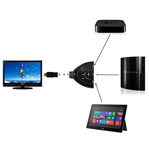 Commutatore HDMI a 3 porte, hub box con 3 ingressi ed 1 uscita per HDTV verso diversi dispositivi come lettori Blu-Ray, console di gioco, decoder, sistemi musicali, ecc., performance ultra elevate