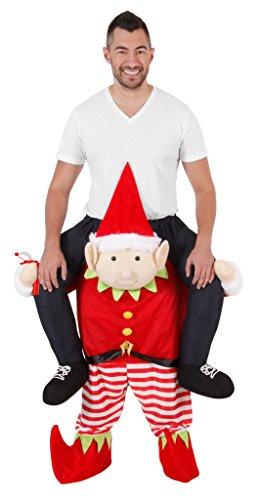Christmas Piggyback Ride On Tipsy Elf Costume (Standard) (Adult Big Foot Kostüm)