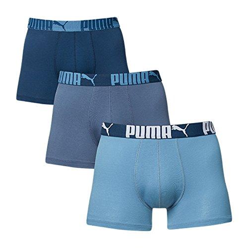 Puma Herren Boxer Shorts 3P Weich Stoff Sports Athletic Hose Drei Paar Packung (Blue Heaven, Medium) (Boyshorts Boxer)