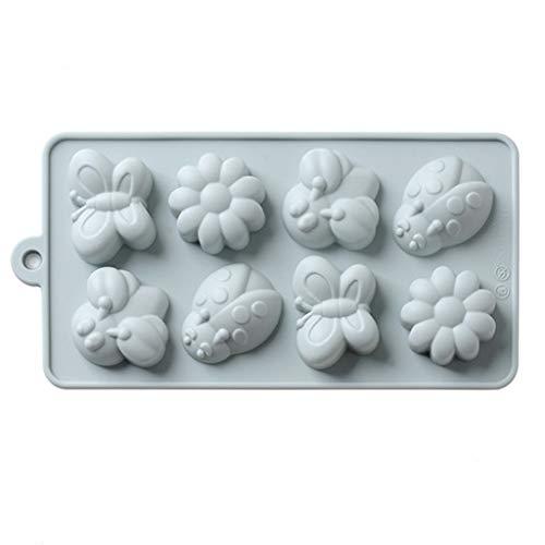 Silikon Form 8 Löcher 3D Blumen Schmetterling Diy Kuchen Plätzchen Schokoladen Form Eiswürfelschale-Form Backblech, Mikrowelle Und Geschirrspüler Sicher ()