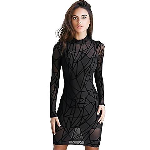 Reaso Femmes Robes, Sexy Transparent Manche longue Bodycon Mince Cocktail Mini Robe de Soirée (L, Noir)