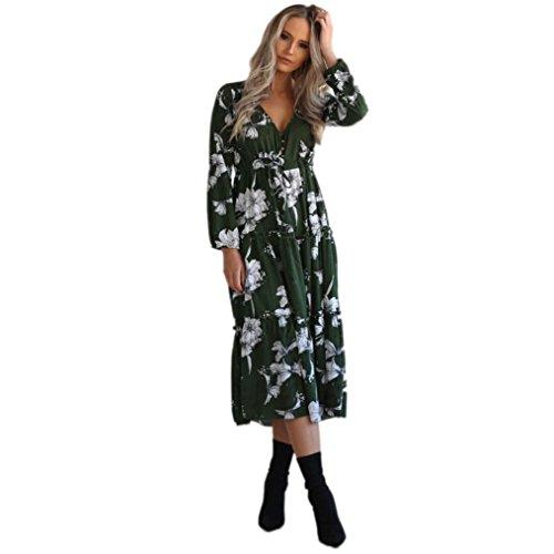 LSAltd Damen Damen Vintages V-Ansatz Blumendruck Kleid Boho langes Maxi Kleid Partei Kleid (Grün, L)