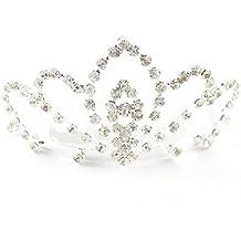 Las niñas cristal/diamante Tiara peine–boda/novia/Santa Comunión (at1247)