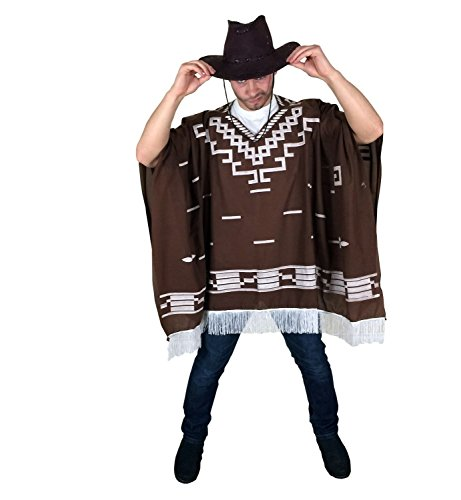 Cowboy Wild West Mexican Poncho Male Fancy Dress - One Size