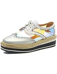 Sneakers de Cuñas Cordones Plataforma para Mujer,MWOOOK-829 Plataforma Casual Loafers de Transparente