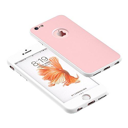 Cover iPhone 6/6s 360 Gradi Morbido Full Body Ultra Sottile TPU Antiscivolo Protettiva Custodia Case DECHYI (4.7 - Bianco+Rosa) Bianco + Rosa