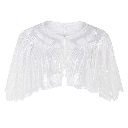 PrettyGuide Damen Stola Abendkleid Perlen Pailletten Art Deco 20er Jahre Schal Weiß