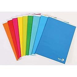 Takestop® Juego de 4piezas cuadernos Maxi A4cuaderno a rayas Riga C 45elementari Medio 80g número hojas 80+ R Fantasia y color aleatorio