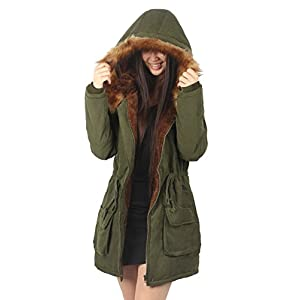 iLoveSIA Womens Winter Warm Coat Faux Fur Lined Parka New Army Green UK 14