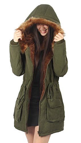 mantel damen winter Wintermantel Winterparka damen fellkapuze Militär grün,Etikett US08, 40