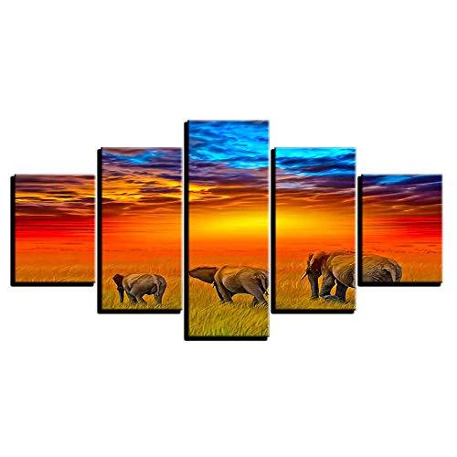 ACCEY Póster en la Pared Cuadro Modular Tipo Moderno 5 Panel Elefantes...