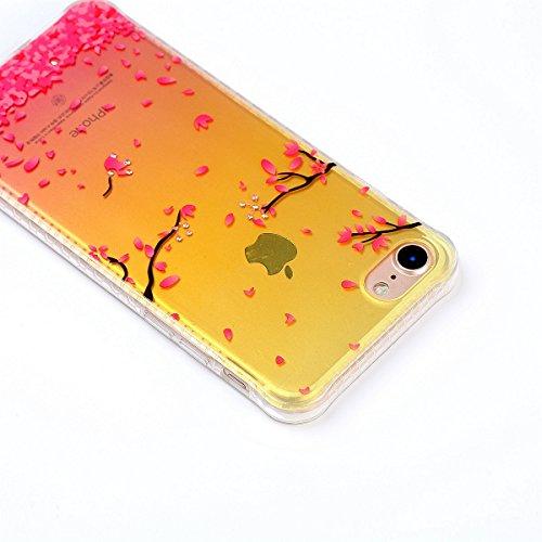 Coque iPhone 7 Glitter, iPhone 7 Coque Brillante, SainCat Ultra Slim TPU Silicone Case pour iPhone 7, Glitter Bling Diamante Strass Anti-Scratch Soft Gel 3D Housse Transparent Silicone Case Anti Choc  Cerise