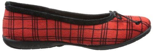 Sheepworld 340130 Unisex-Erwachsene Flache Hausschuhe Rot (Rot/Schwarz)