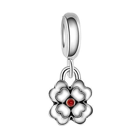 Bling Stars Sakura Flower With Red Crystal Dangle Charm Bead Fits Pandora Charms Bracelet