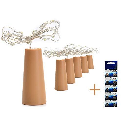 Budbuddy 6 Stücke Kork LED Licht + 10 Stücke LR44, Flaschenlicht, 100cm Licht mit 20 Warmweiß LEDs Lichterkette, Ideal für Flasche DIY, Party, Weihnachten, Halloween, Hochzeit (warmweiß)