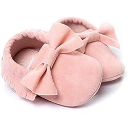 Koly_Culla nappe Bowknot pattini di bambino delle scarpe da tennis casuali (Size 11, Rosa)